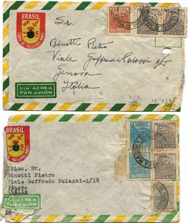 BRAZIL, 2 AIR MAILS, LOGO CORPO DE FUZILEIROS NAVAIS, 1953, TOTAL 8 STAMPS     m