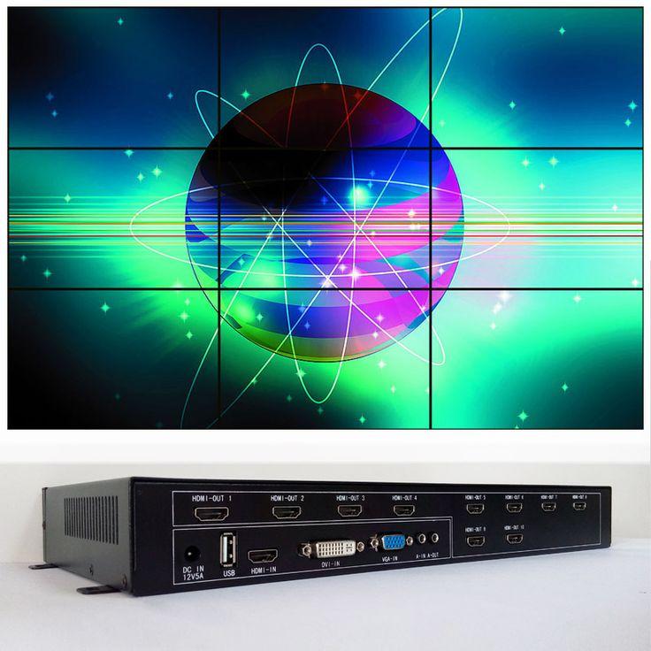 3 × 3複数のモニタビデオウォールコントローラhdmi dvi vga入力hdmi出力