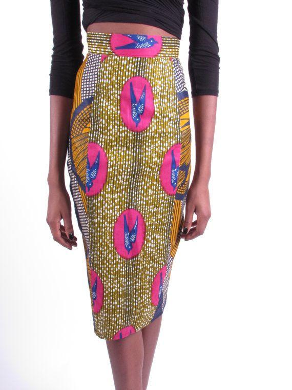African Print Skirt Mid Length Skirt - When Doves Fly-The Skinny ...