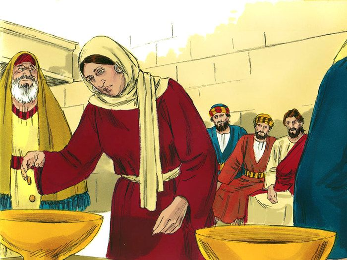 Free Bible illustrations at Free Bible images of the widow who gave everything she had, sometimes known as the story of the widow's mite. (Mark 12:41-44, Luke 21:1-4): Slide 3