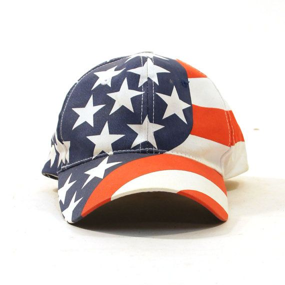 american flag baseball hat and stripes white