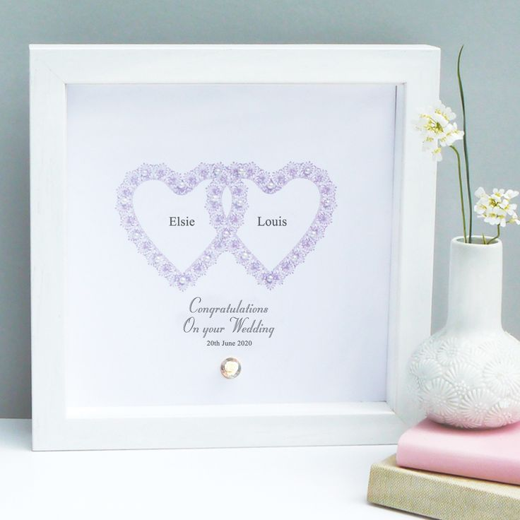 This gorgeous personalised Wedding entwined hearts artwork makes the perfect romantic gift for that special couple.  The contemporary design is made up of tiny vintage pearls and a gorgeous flower button.