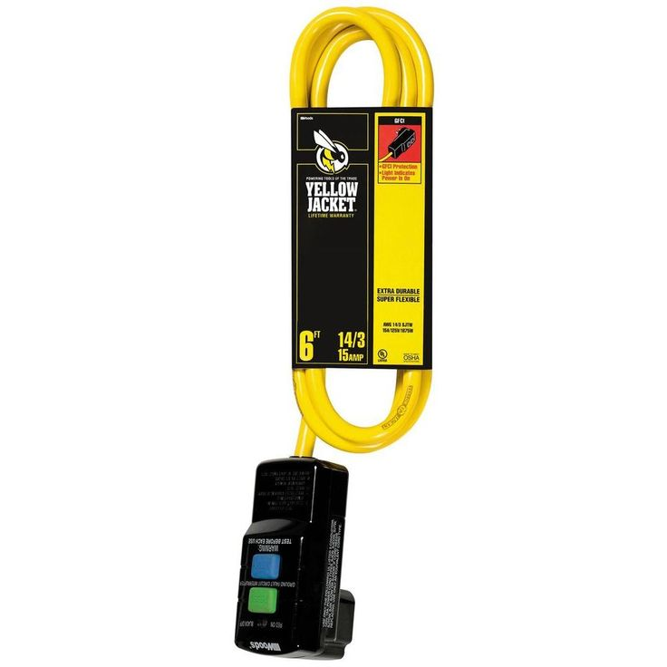 6 ft. 14/3 Sjtw with Right Angle Gfci Plug and Lighted Receptacle