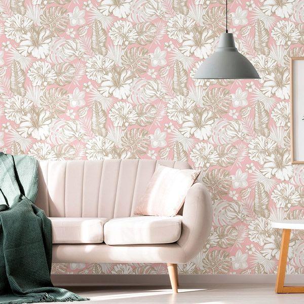 Papel Pintado De Flores Y Hojas Tropicales En Color Rosa Una Excelente Producto Para Combinar Con Mue Papel Pintado Decoracion De Unas Papel Pintado De Diseno