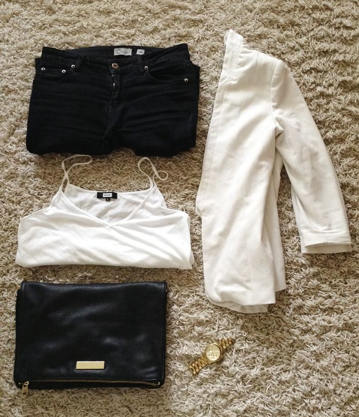 Fashion Tipsy: Pieces of an outfit: White blazer, black jeans, white top, black clutch and a Michael Kors watch