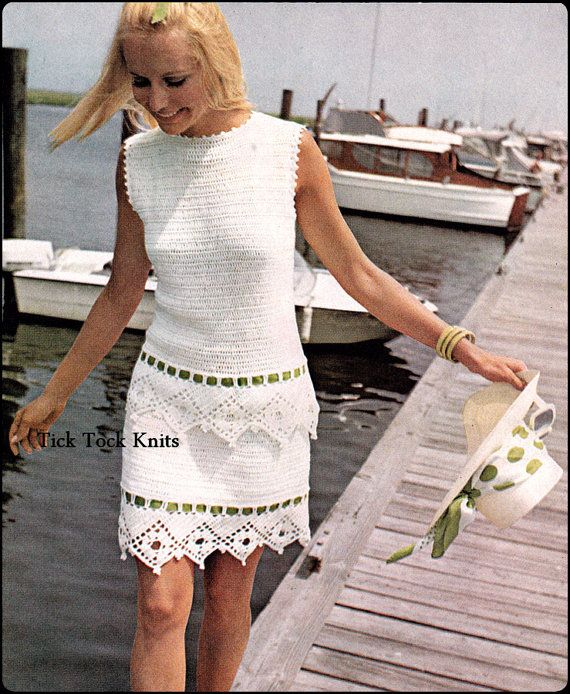 No.281 PDF Crochet Dress Pattern Vintage - Women's Tiered Dress - Retro Crochet Pattern - Instant Download