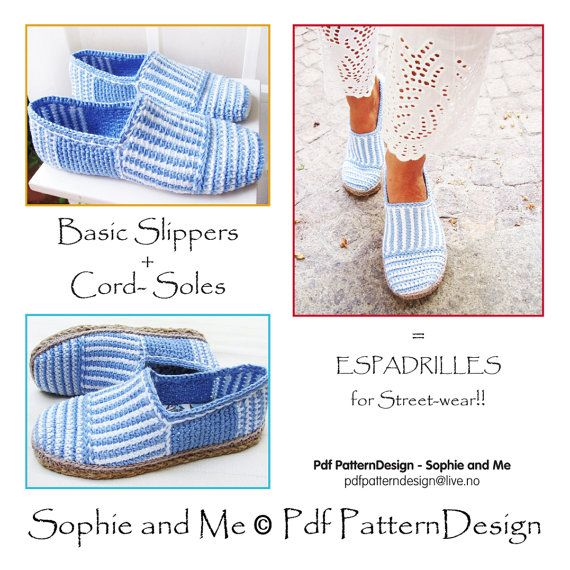 2in1-Pattern for Canvas Striped Slippers  by PdfPatternDesign