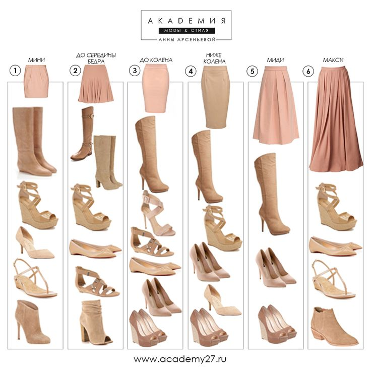 Shoe and Boot Pairings for Your Favorite Skirt | This is awesome for me, I never seem to feel natural when I wear a skirt. Now to find one for blouses and skirts...