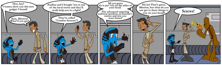 In this 4-page comic, the 2nd half of that scene is played out by their KOTOR 2 counterparts, Atton and LSF Exile. Description from deviantart.com. I searched for this on bing.com/images