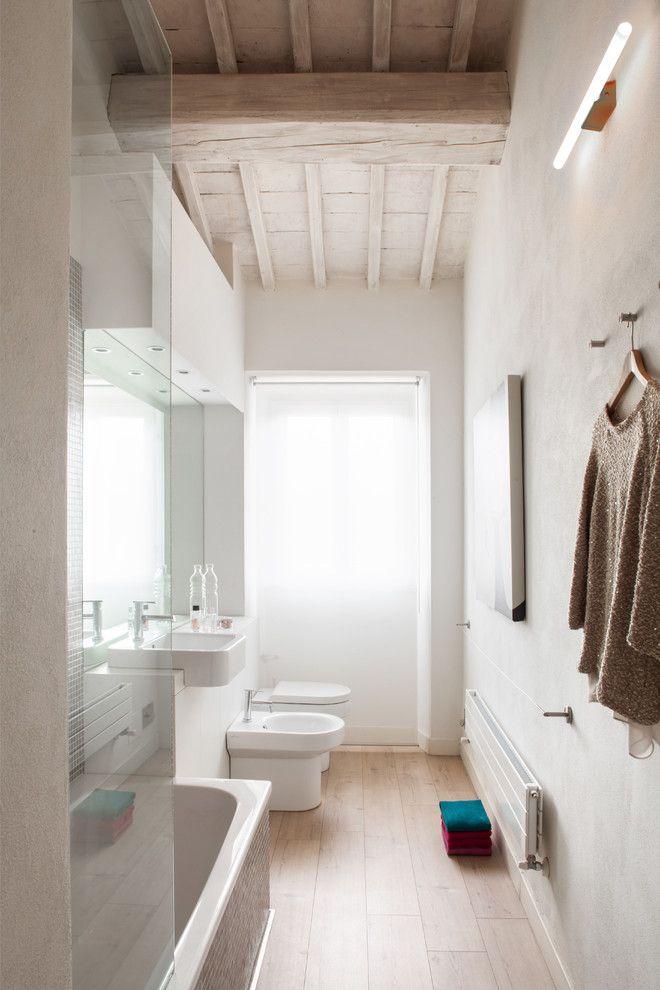 Narrow Bathroom Sink Used to Scandinavian Bathroom with Contemporary Design