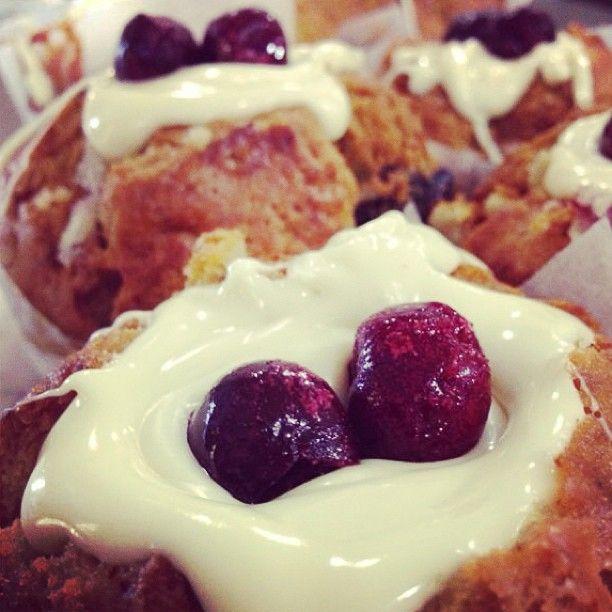 White Chocolate, Cherry Muffins