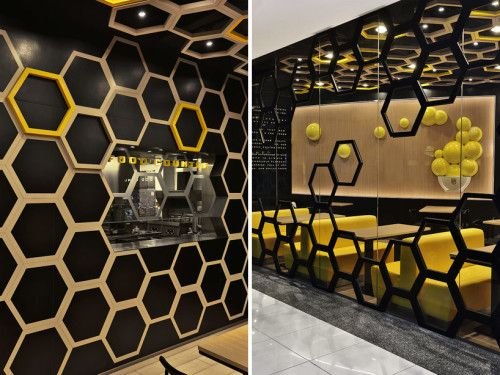 Rice home, a Hong Kong based restaurant, offers a new experience in the city of Guangzhou, China. The newly launched casual dining brand has a unique restaurant design by AS design inspired by beehive. Irregular hexagons define the space of the restaurant underlined in a rich palette of yellows over a black background. The hexagons …