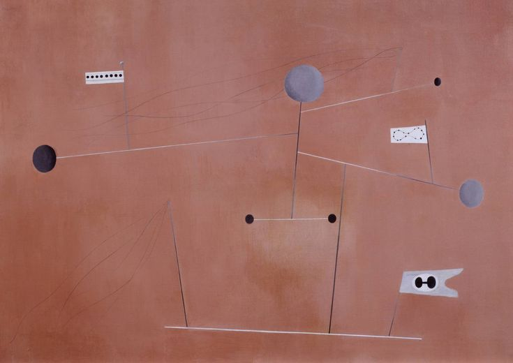 Paule Vézelay, 'Construction. Grey Lines on Pink Ground' 1938
