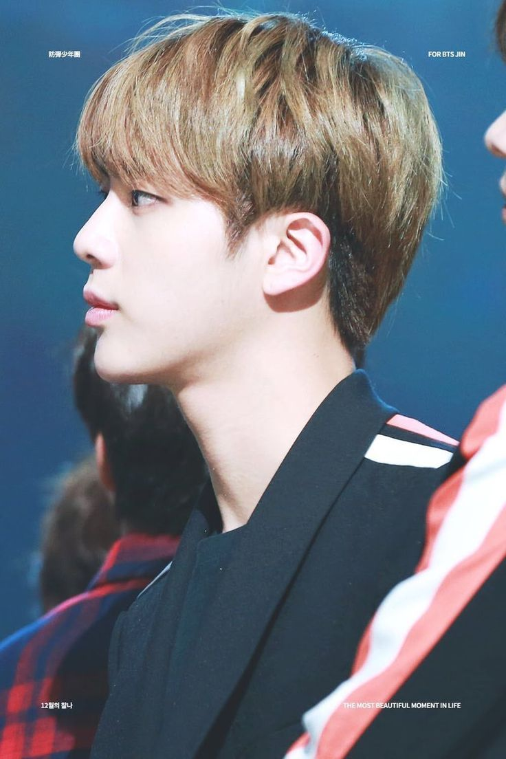 Jin with brown hair side profile / visual | BTS in 2019