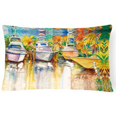 Carolines Treasures Blue Heron and Deep Sea Fishing Boats Rectangle Decorative Pillow - JMK1051PW1216