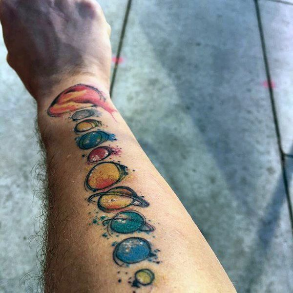 Mens Colorful Planets Tattoo Forearm