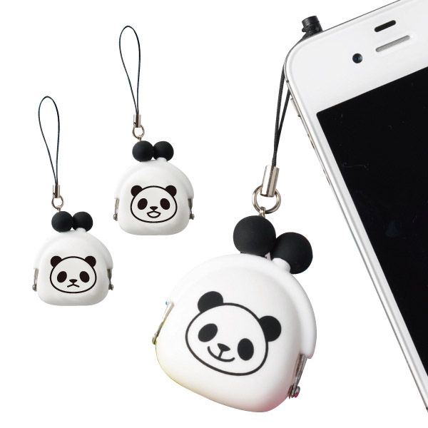 A small coin purse featuring a cute panda  print. It is a small yet useful storage item  that can even be attached as a charm to  a mobile phone or a bag.
