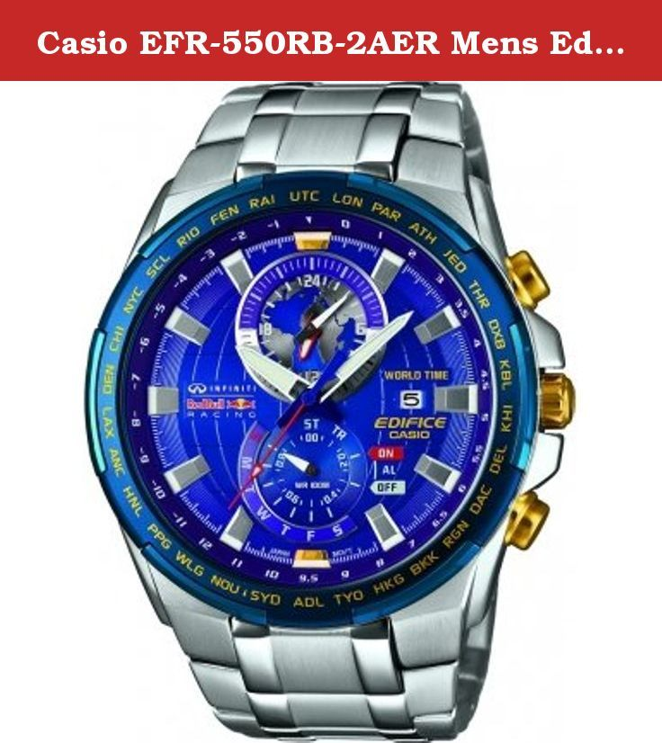 Casio EFR-550RB-2AER Mens Edifice Red Bull World Time Silver Watch. Red Bull Racing Limited Edition.