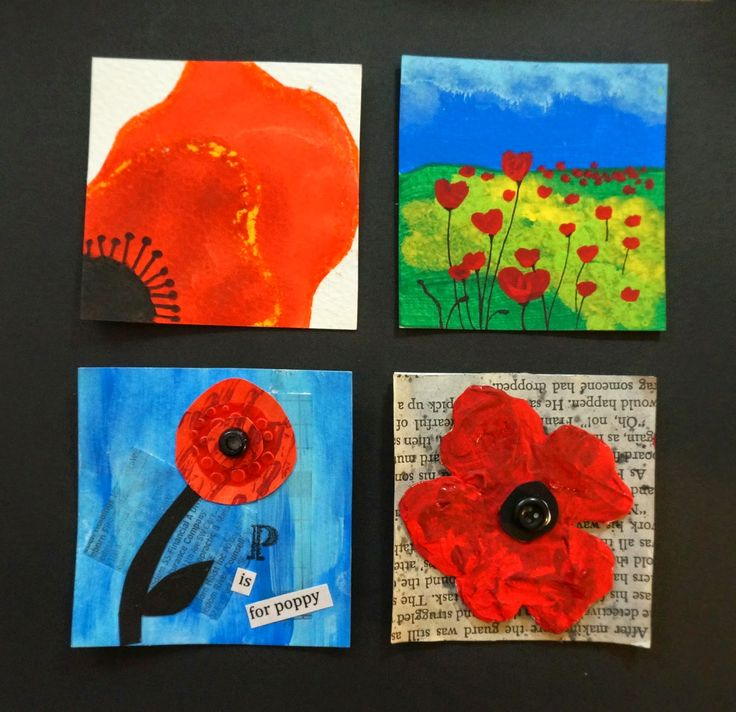"I recently completed these Poppy inchies with a Grade 5/6 class in honour of Remembrance Day. The students made all 4 and then picked their 3 favourite to be mounted on 1""x 4"" boards that are cut in 1"