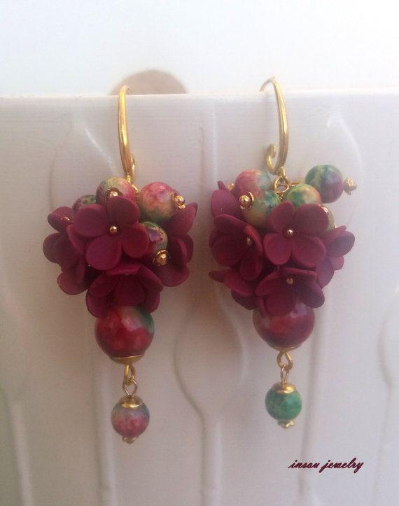 Bordeaux EarringsFlower EarringsBordeaux by insoujewelry on Etsy