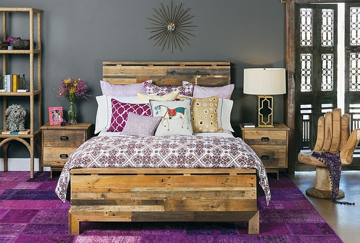 Bright purple Moroccan design combined with steely modern grey
