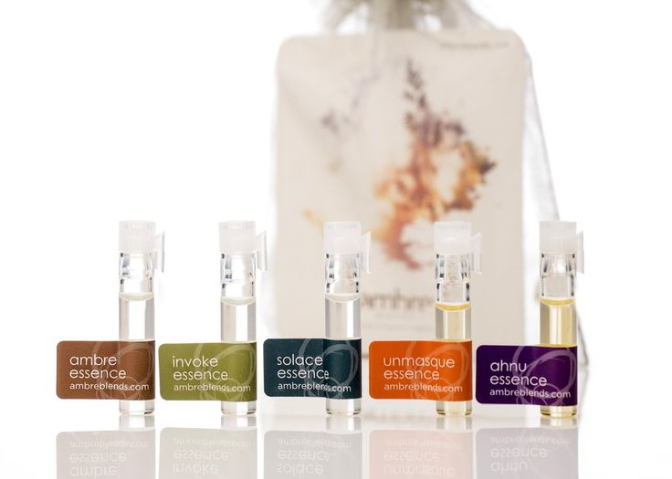 Sample Pack - Ambre Blends Pure Oil Essences. Sample Pack contains one sample vial of all five Ambre Blends' Pure Oil Essences (Ambre, Invoke, Solace, Unmasque & Ahnu) along with a product info card.