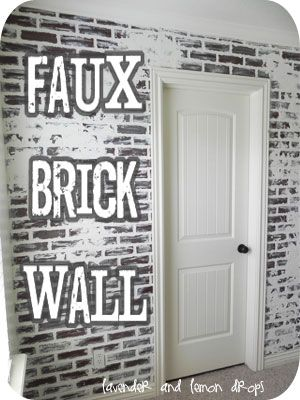 "Hallway to half bath and playroom. Do faux brick panels on bathroom door side, doorway leading into hall and doorway leading into playroom.  Leave built in book shelves side painted and ""finished"""