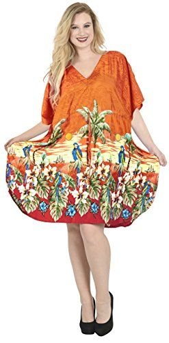 Womens Beachwear Long Casual Dress Caftan MAXI Evening Loose Dress Printed Blouse Orange One_Size_Fits_Most 888 Spring Summer 2017 * Locate the beachwear offer simply by clicking the VISIT button