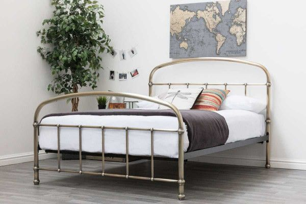 Lichfield Antiqued Brass Victorian Style Bed Frame Metal Bed