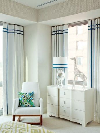 white draperies with trim coordinates with lamp shade