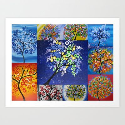 Circle tree trees with circles cathy jacobs of SheerJoy Art Print by Cathy Jacobs - $15.60