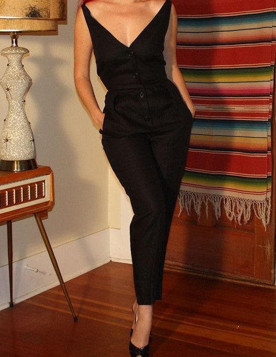 1950s Style 80s Plunge Catsuit - Pinup Backless Capri As New Designer DKNY Glamour. $175.00, via Etsy.
