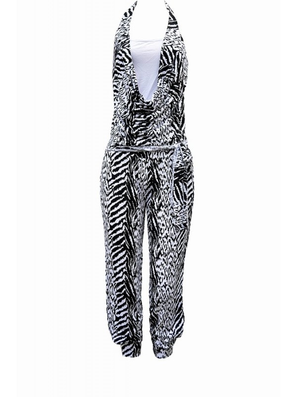 Trendy Animal Print Halter Jumpsuit from Italy - Casj