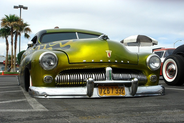 That's, well, it's been lowered. (Love these...'49 Mercury — like my first car at age 13).