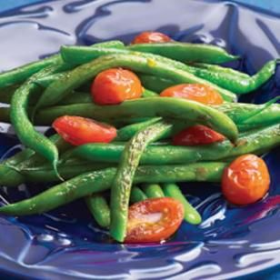 Sauteed Green Beans & Cherry Tomatoes Recipe - PERFECT side dish.  Paired with lemon dill chicken recipe.