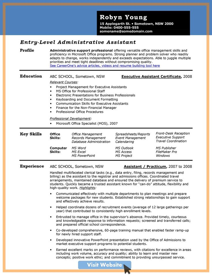 Pin on Administrative assistant resume examples