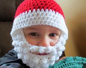 Santa Beard Hat with Detachable beard - Crochet Santa bearded beanie - crochet beard hat - Santa beard - Santa hat - bearded hat - pinned by pin4etsy.com