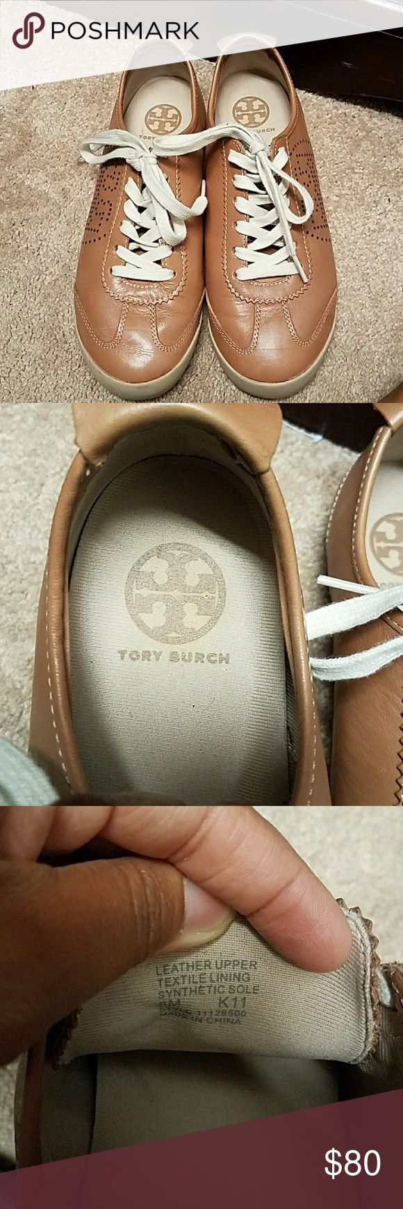"""Tory Burch Leather Sneakers Brown leather """"Murphy"""" sneaker with perforated Tory Burch emblem. Worn 3 times. Tory Burch Shoes Sneakers"""