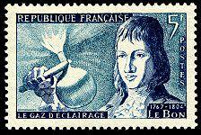 Philippe Le Bon 1767-1804 - Le gaz d´éclairage - Timbre de 1955