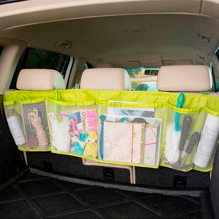 Organizador grande en color verde para auto, tiene 4 bolsas con resorte para guardar cualquier pertenencia y son de red para ver todo lo que lleva, es de fácil instalación pues cuenta con cintas ajustables para ponerlo a cualquier altura en los asientos. #Organizador #Auto #Cajuela #Niños  #Regalo #México