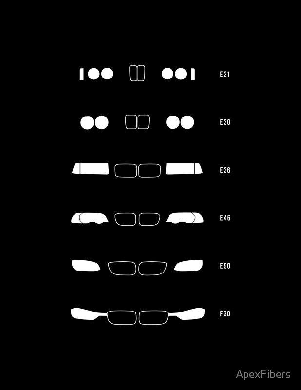 """""""3 Heritage, 1975-Present Day (E21, E30, E36, E46, E90, F30)"""" Poster von ApexFibers   – Cars"""