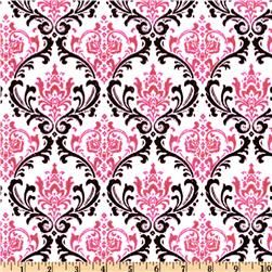 Pink, white, black damask print fabric. $8 per yard: Premier Prints Madison Black/Candy Pink