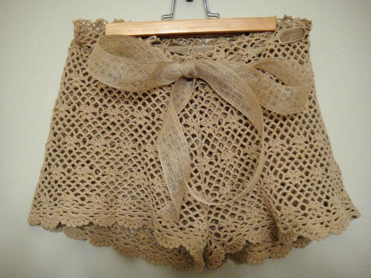 DIY crochet shorts out of and old crochet top. CRAZY