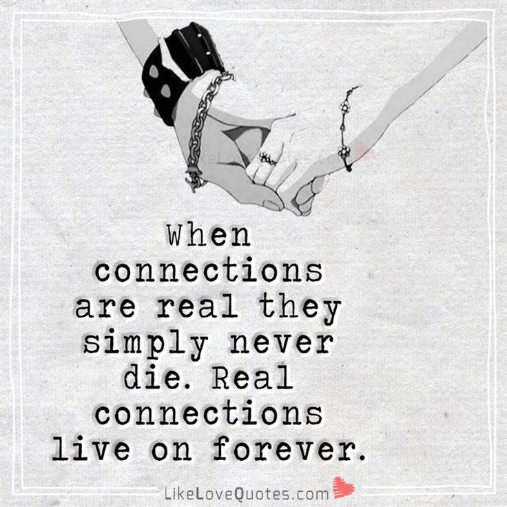 When connections are real they simply never die. Real connections live on forever