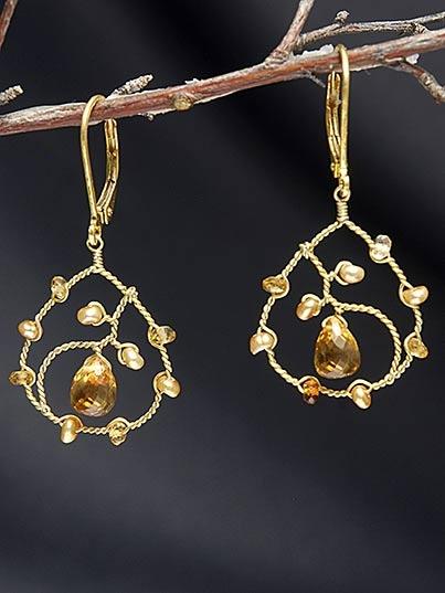 Citrine & Pearl Earrings