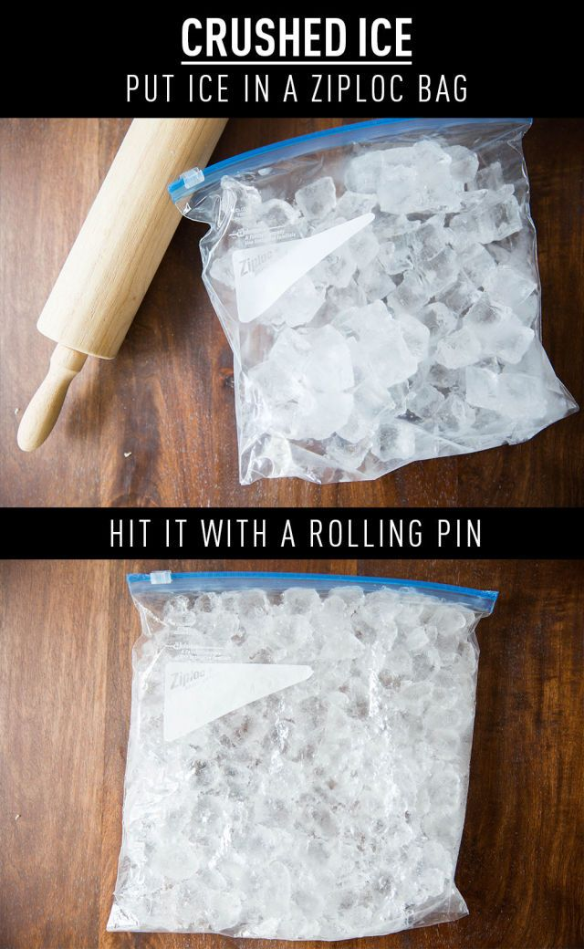 To make crushed ice at home, put cubed ice into a Ziploc bag and hit it like hell with a rolling pin.