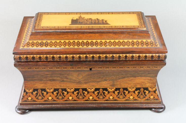 A Victorian Tunbridge Ware twin compartment tea caddy, est £400-600