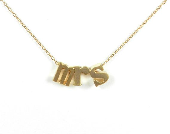 I want for the wedding! Mrs. Necklace. Silver or gold. by BipAndBop on Etsy