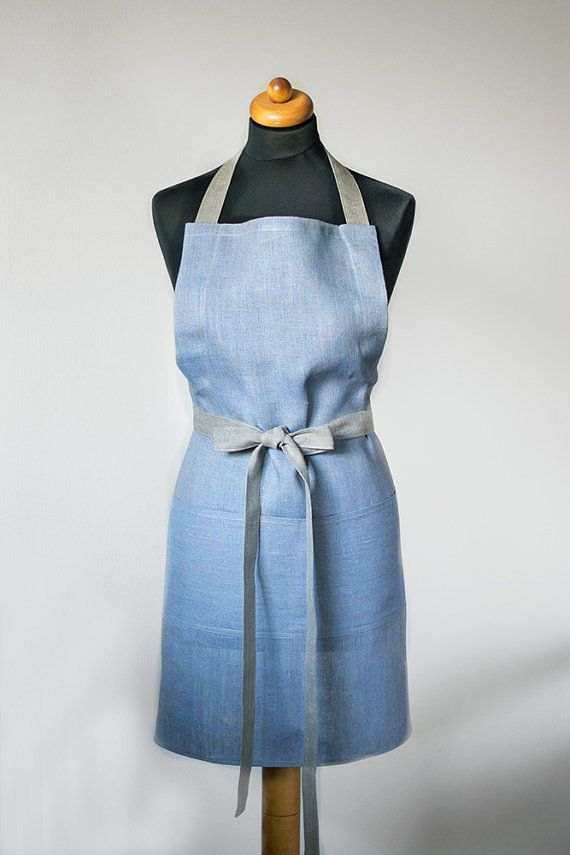 Linen Apron Unisex Full Apron Natural Gray With Light Blue Apron Grey Traditional Apron With One Big Pocket Eco Friendly Apron