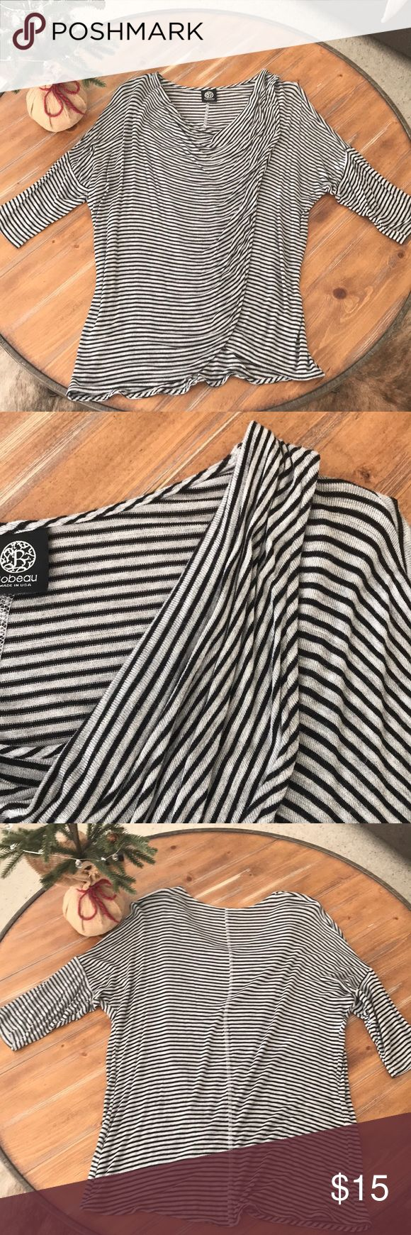 Saks off 5th stripe tunic top Soft gray/black striped 3/4 sleeve tunic top. Front is draped and gathered at the shoulder. Great with leggings or skinny jeans! Great condition! bobeau Tops Tunics